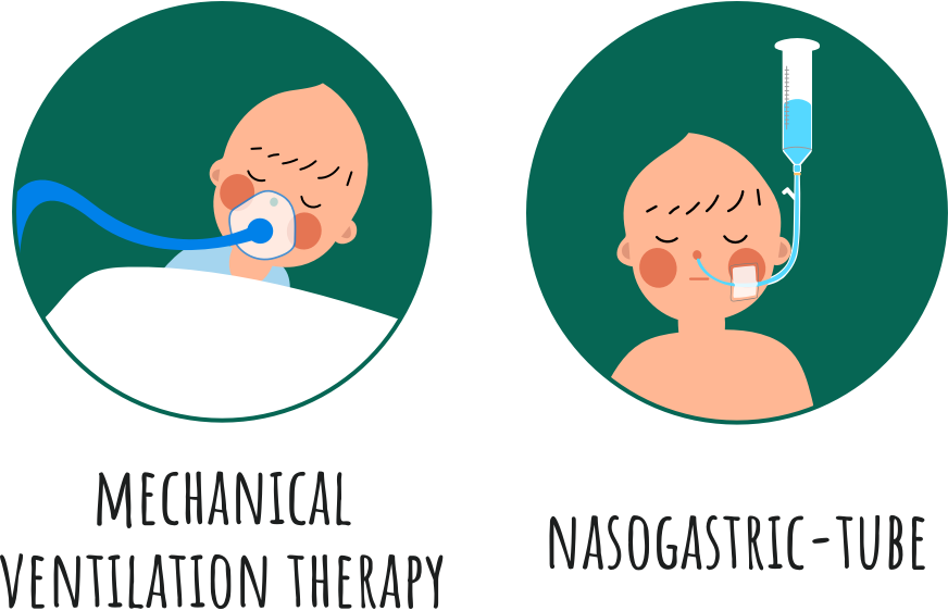 A male newborn baby is using oxygen therapy and mechanical ventilation therapy due to recureent apnea.