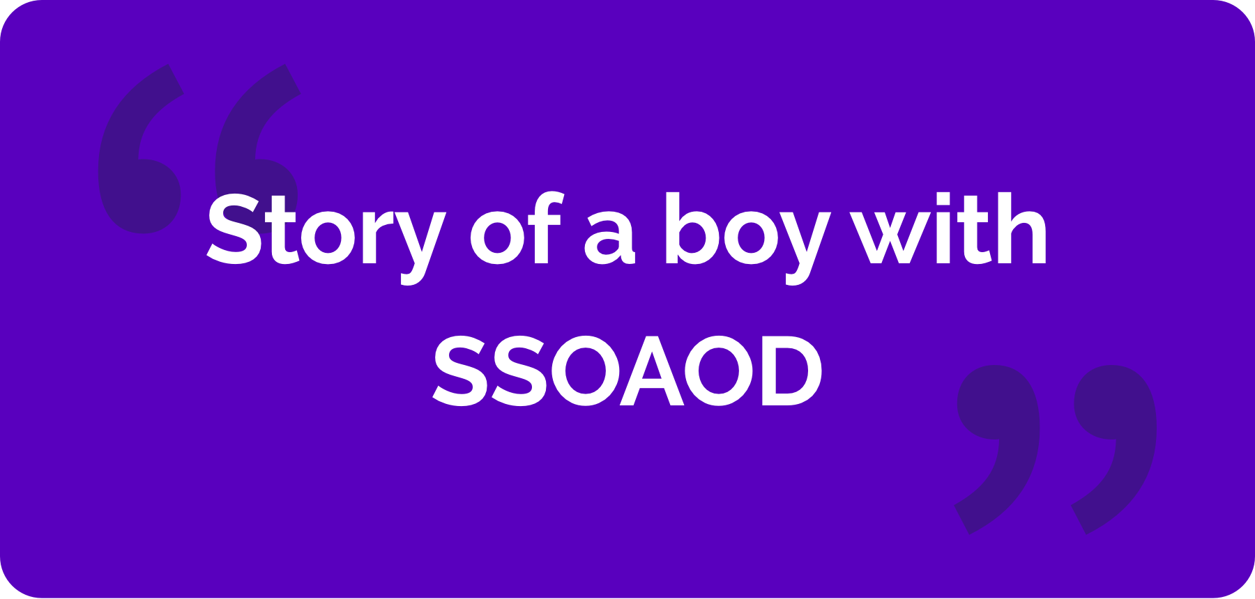 The cover of 'Story of a boy with SSOAOD'