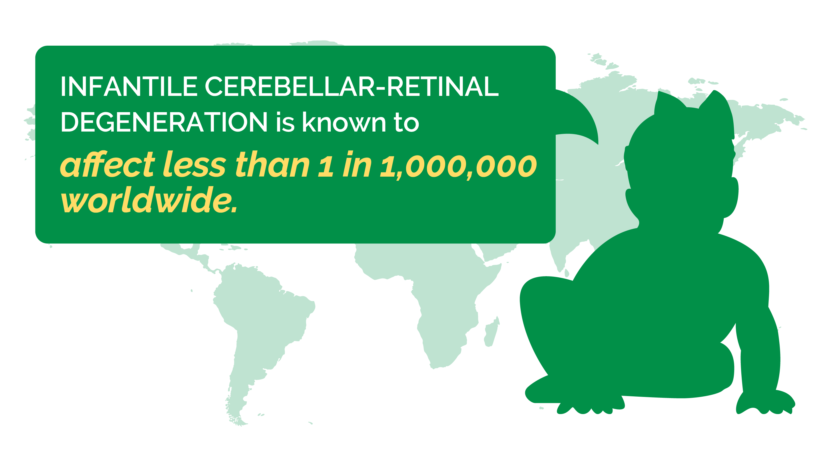 """Map background with silhouette of a baby, and words saying """"Infantile cerebellar-retinal degeneration is known to affect less than 1 in 1,000,000 worldwide."""""""