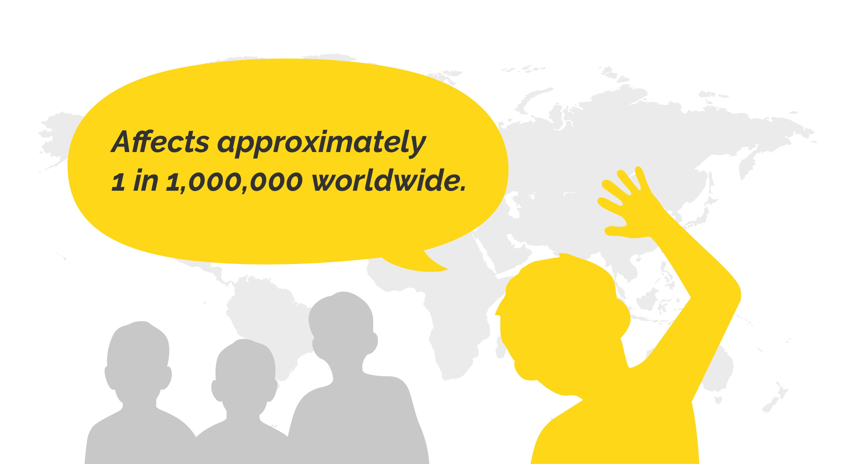 """Map background with silhouettes of children and words saying """"Affects approximately 1 in 1,000,000 worldwide."""""""